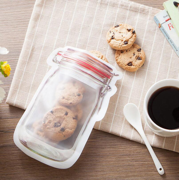 Safe Zippers Storage Bags Plastic Mason Jar Shaped Food Container Resuable Eco Friendly Snacks Bag LX5022 - goldylify.com