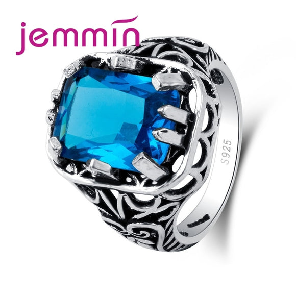Vintage Retro Punk Rock Claw with Big Blue Zircon Stone CZ 925 Sterling Silver Ring Women Female Mens Ring Jewelry Gift - goldylify.com