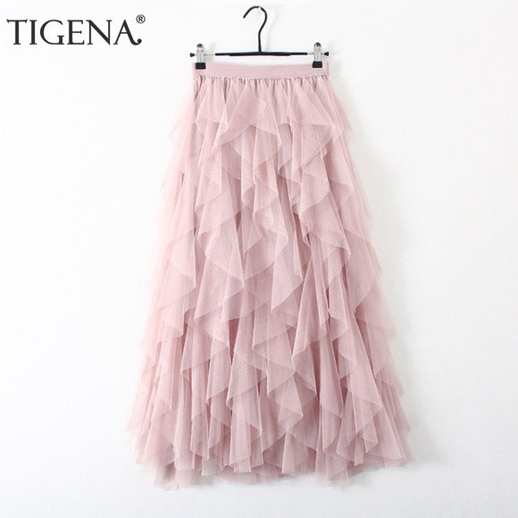 TIGENA Fashion Tutu Tulle Skirt Women Long Maxi Skirt 2019 Korean Cute Pink High Waist Pleated Skirt Female School Sun spodnica - goldylify.com