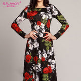S.FLAVOR Women Elegant O Neck Long Dress Casual Long Sleeve Vintage Floral Printed Maxi Dress Spring Fashion Slim Party Vestidos - goldylify.com