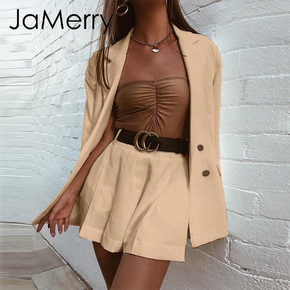 JaMerry Highstreet chic two piece set women blazer set Double breasted office lady blazer Casual streetwear female outwear suit - goldylify.com