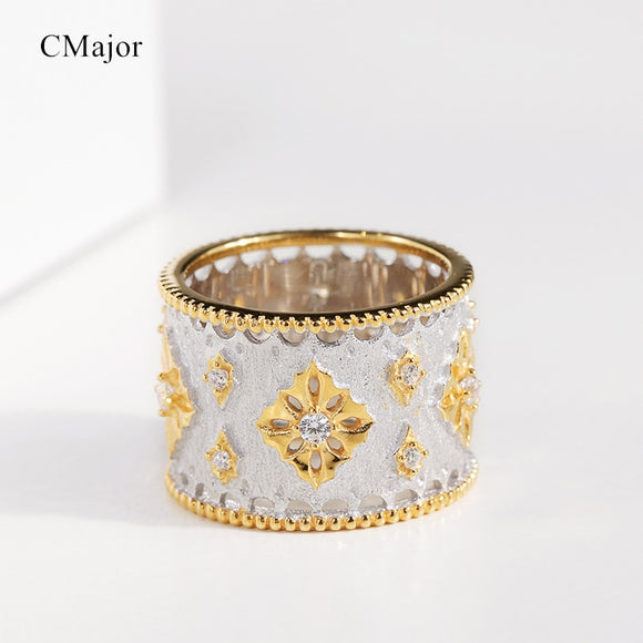 CMajor S925 Sterling Silver Jewelry Vintage Palace Hollow Snow Fashion Minimalist Two-tone Rings Gift For Women - goldylify.com
