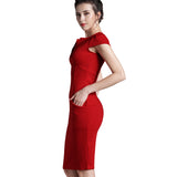 Nice-forever Office Women Vintage Summer Solid Deep V neck Zipper Back Formal Stretch Pencil work Bodycon Pocket Dress 521 - goldylify.com