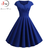Summer Dress Women 2019 Short Sleeve Hepburn 50s 60s Vintage Pin Up Rockabilly Dress Robe Plus Size Elegant Evening Party Dress - goldylify.com