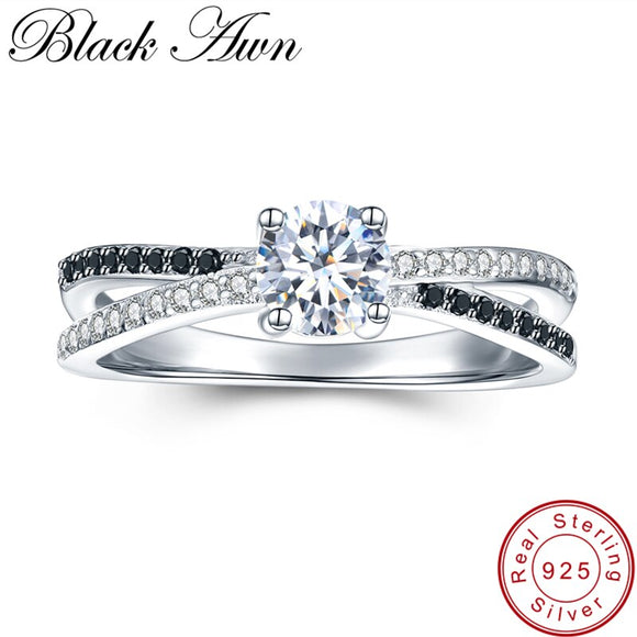 [BLACK AWN] 925 Sterling Silver Jewelry Trendy Wedding Rings for Women Engagement Ring Femme Bijoux Bague C009 - goldylify.com