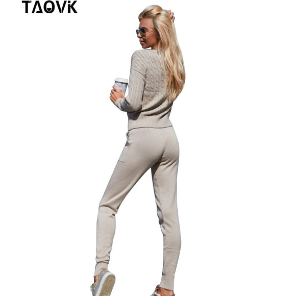 TAOVK Women Sweater Suit and Sets Casual Spring Autumn 2PCS Tracksuit Female Knitted Trousers+Jumper Tops Costume Clothing Set - goldylify.com