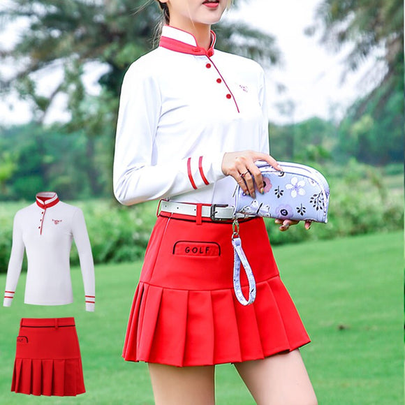 Pgm Golf Short A-Line Skirt Suits Women Long Sleeved Shirts Slim Fit High-Elastic Clothing Sets Golf Tennis Sportwear D0493 - goldylify.com