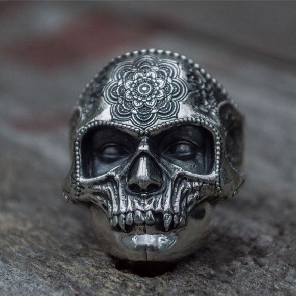 Unique Silver Color 316L Stainless Steel Heavy Sugar Skull Ring Mens Mandala Flower Santa Muerte Biker Jewelry - goldylify.com