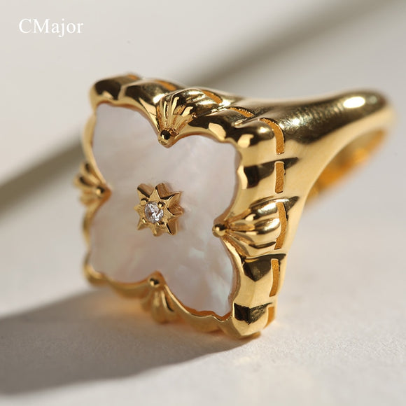 CMajor S925 Silver Jewelry Italian Style White Shell Four-Leaf Clover Vintage Fashion Rings For Women - goldylify.com
