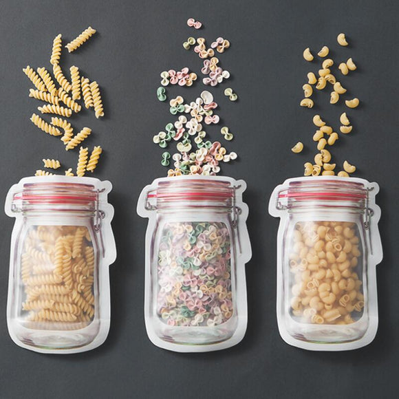 Mason Jar Shaped Food Container Plastic Safe Zippers Storage Bags Reusable Eco Friendly Snacks Bag LX6373 - goldylify.com