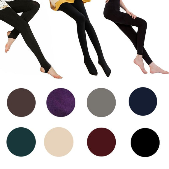 Womens High Waist Stretchy Thicken Velvet Warm Solid Color Skinny Footless/Footed leggings Thermal Ankle Slim Full Lengt - goldylify.com