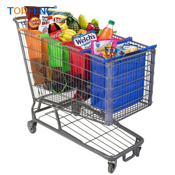 TopFeng 4pcs/set Cart Trolley Supermarket Shopping Bag Grocery Grab Shopping Bags Foldable Tote Eco-friendly Reusable Supermarke - goldylify.com
