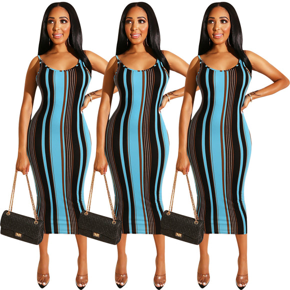 Woman Summer Backless Sexy Lace Up African Kitenge Designs Stripe Dress