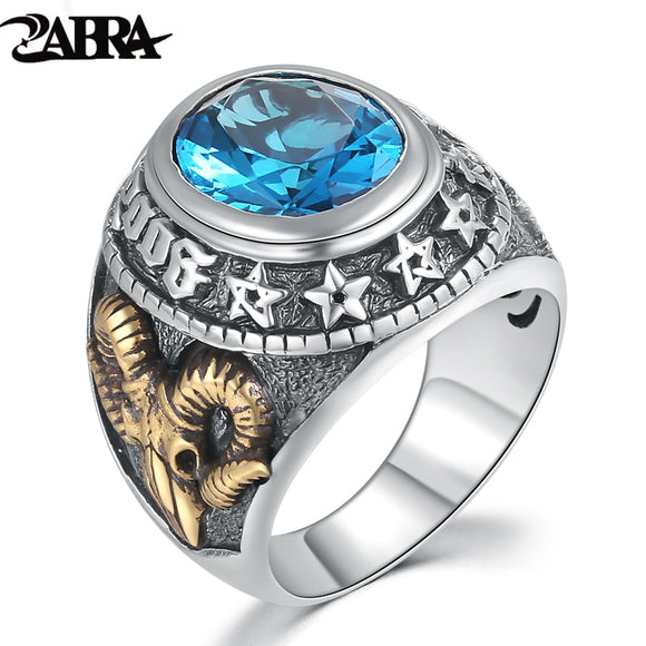 ZABRA 925 Silver Blue Zircon Men Ring Vintage Stone Punk Rock Gold Sheep Head Thai Handmade Women Rings Sterling Silver Jewelry - goldylify.com