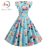 2019 Women Summer Dress Retro 50s 60s Robe Femme Rockabilly Pinup Party Vestidos Plus Size Casual Elegant Floral Office Dress - goldylify.com
