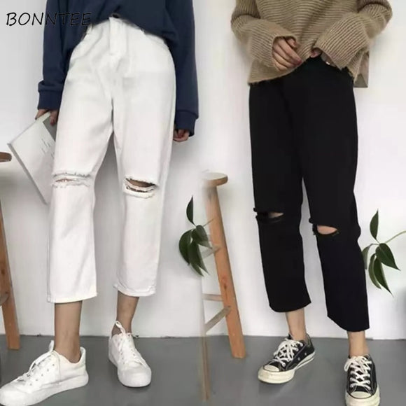 Jeans Women Spring Summer Trendy Simple Korean Style All-match Solid Hole Soft High Waist Streetwear Womens Trousers Chic Casual - goldylify.com