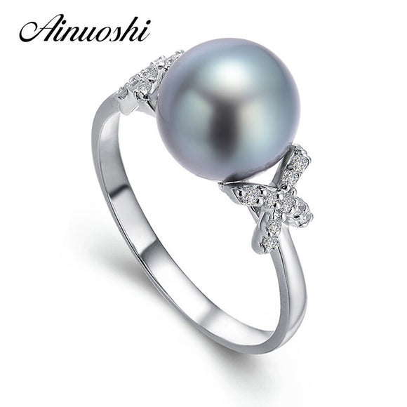 AINUOSHI 10mm Black Tahitian Pearl Ring 925 Sterling Silver Round Pearl Ring Engagement Trendy Silver Women Anniversary Jewelry - goldylify.com
