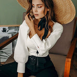OOTN Square Collar White Tunic Women Blouse Shirt Female Elegant 2019 Summer Sexy Puff Sleeve Tops Ladies Office Blouses Casual - goldylify.com