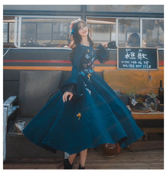 High Quality Explosions Leisure Retro wool matching Dresses Women spring autumn Casual Dress - goldylify.com