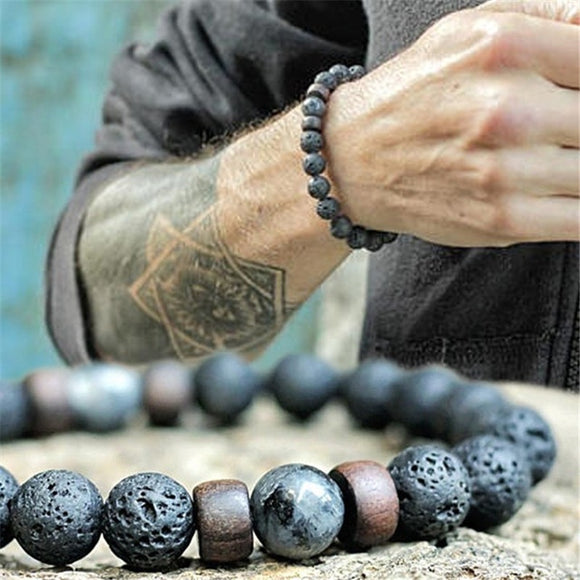 YIZIZAI Natural Lava Rock Stone Beads Strand Bracelet Wooden bead Accessories Black Charm Stone Men Women Jewelry Gift - goldylify.com