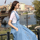 NORMOV Denim Dress Women Fashion Solid V Neck Sleeveless Backless With Button Pocket Mid Calf Cotton Strap Dress Office Lady - goldylify.com