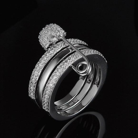 [MeiBaPJ]Real 925 Sterling Silver Fashion Pin Ring for Women 3 Colors with AAA High Quality Stones Party Fine Jewelry - goldylify.com