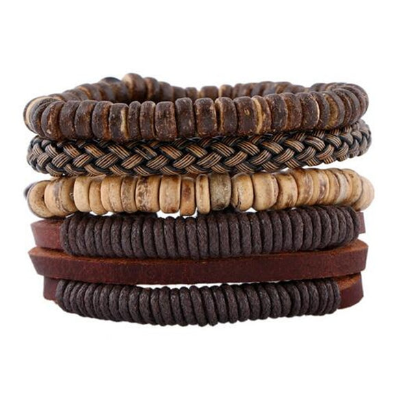 ZOSHI Fashion 4pcs 1 Set Punk Genuine Wrap Leather Bracelets Men For Women Charm Wood Beads Bracelets Cuff Jewelry Accessories - goldylify.com