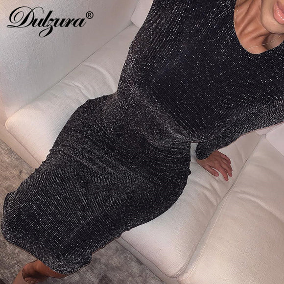 Dulzura glitter sparkle bling long sleeve dress sexy party 2019 autumn winter elegant bodycon christmas sequins club office - goldylify.com