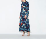 2019 Elegant Floral Printed Vintage Chic Long Sleeve Vestidos De Festa Maxi Women Dress