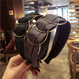 New High-end boutique hair accessories women's gold ring cross stitching fabric wide-brimmed fashion hairband headband hair band - goldylify.com