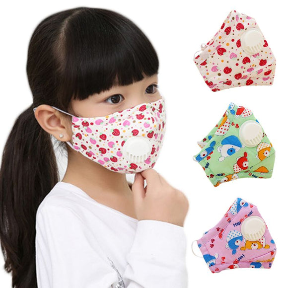 Winter Children Kids Dustproof Washable Cotton N95 Mouth Mask Cartoon Car Strawberry Printed Adjustable Respirator With Breath - goldylify.com
