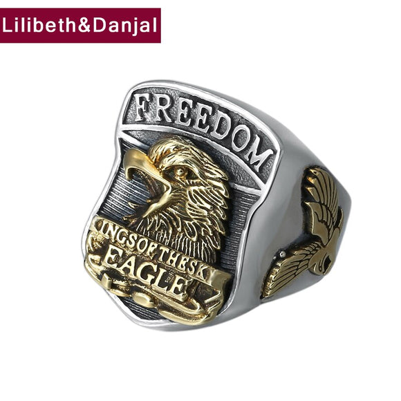 2019 Custom Adjustable Ring 100% 925 Sterling Silver Jewelry Men Women Creative Retro Letter Eagle Opening Ring freeshiping R028 - goldylify.com