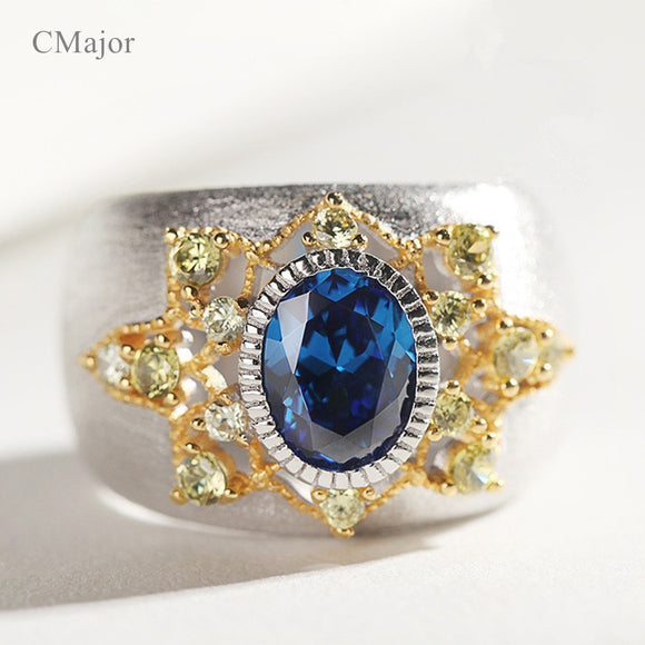 CMajor Pure Silver Jewelry Blue Stone Vintage Ethnic Personality Rings For Women - goldylify.com