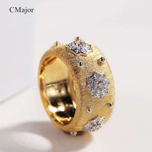 CMajor S925 Silver Jewelry Glowing Stars Vintage Palace Luxury Gold Color Rings Two Tone Indian Style Ring For Women - goldylify.com
