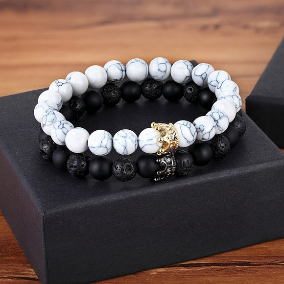 XQNI New Classic Interlocking Stitching Lava & Matte Onyx Stone with Crown Accessories Beads Bracelet Hand Jewelry For Women Men - goldylify.com