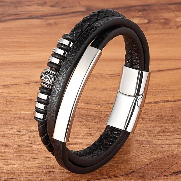 XQNI Geometrically Irregular Graphics Stainless Steel Genuine Leather Bracelet Black/Brown Color Accessories Jewelry For Men - goldylify.com