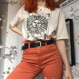 Weirdgirl women casual fashion t-shirt khaki letter sun moon print loose o-neck half sleeve elastic stretched summer home new - goldylify.com