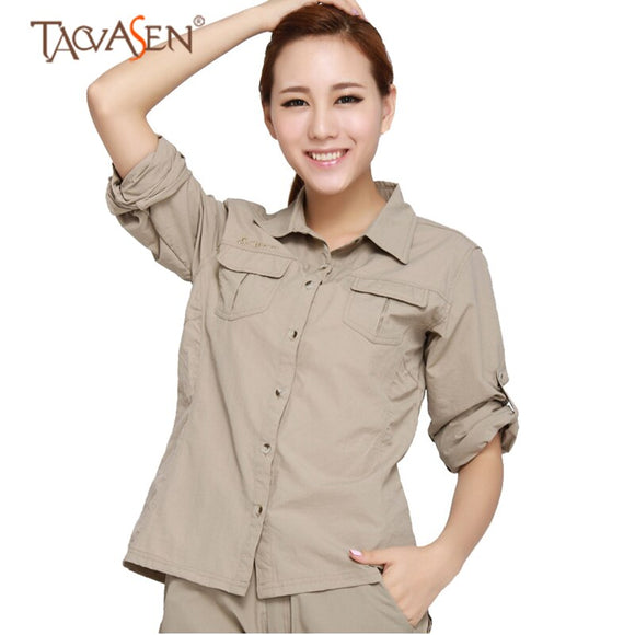 TACVASEN Quick Dry Shirt Women Outdoor Trekking Shirt Removable Shirts Long Sleeve Climbing Shirt Hiking Shirts Fishing Shirts - goldylify.com