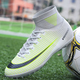 ZHENZU Turf Black Men Soccer Shoes Kids Cleats Training Football Boots High Ankle Sport Sneakers Size 35-45 Dropshipping - goldylify.com