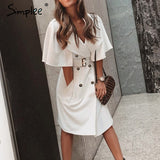 Simplee Solid ruffled sleeve women blazer dress Elegant sash belt office ladies trench dress V-neck shawl party dress vestidos - goldylify.com