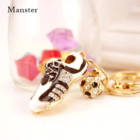 Rhinestone Keychain Crystal Football Soccer Shoes For Car Purse Bag Buckle Pendant Key ring Key Chain For Man Women Gift Ring - goldylify.com