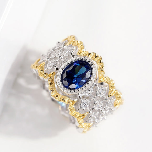 CMajor S925 Silver Jewelry Vintage Palace Hollow Flower Gold Color Fence Sides Blue Oval Stone All-match Rings For Women - goldylify.com