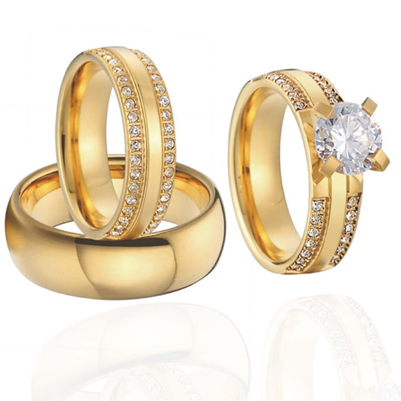 Women's Ring Alliance 3 pieces couple wedding rings set for men and women Gold color Cubic Zirconia female engagement Ring pair - goldylify.com