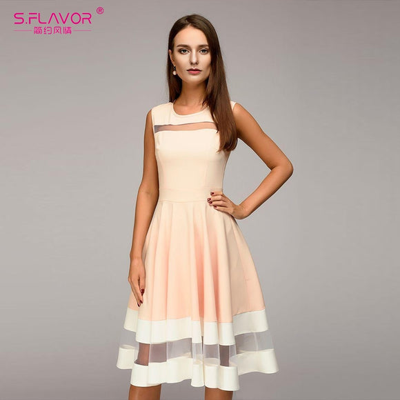 S.FLAVOR Spring Summer Women elegant Midi dress sexy mesh patchwork O-neck A-line Vestidos women Vintage Sleeveless party dress - goldylify.com