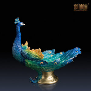 Colorful The Peacock Candy Dish Home Decoration Chinese Brass Copper Tray 45*38cm Furnishing Articles Business Gift - goldylify.com
