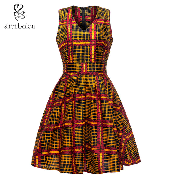 2019 Hot Selling African Kitenge Dress Designs Sleeveless Women Dresses Casual Dress