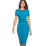 Nice-forever Vintage Elegant Patchwork Wear to Work Female vestidos Business Bodycon Office Party Sheath Women Dress B509 - goldylify.com