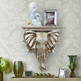 Europe Creative Resin Elephant Figurines Wall Shelf Decorative Storage Rack Home Wall Hanging Background Decoration Crafts Gifts - goldylify.com