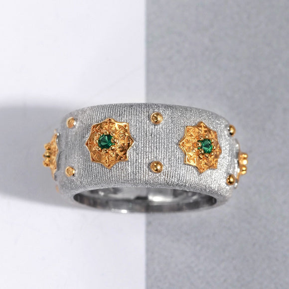 CMajor S925 Sterling Silver Jewelry Italian Style Two Tone 5A Green Cubic Zircon Stone Star Rings For Women - goldylify.com