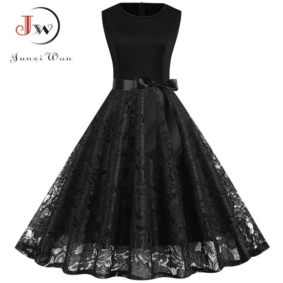 Elegant Slim Lace Party Dress Women Summer Casual Sleeveless Black Vintage A-line Midi Office Dresses Robe Femme Plus Size S~3XL - goldylify.com